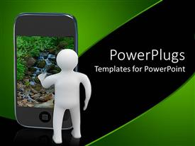 PowerPlugs: PowerPoint template with small white figure standing beside smart phone showing peaceful babbling brook scene