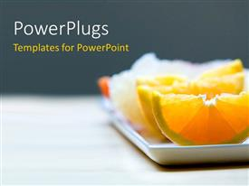 PowerPlugs: PowerPoint template with small white rectangular plate bearing slices of orange and other fruits