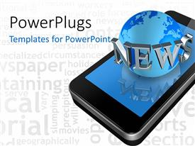 PowerPlugs: PowerPoint template with smart phone globe connection news abstract social media white background
