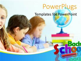 PowerPlugs: PowerPoint template with learning depiction with school supplies and kids in classroom