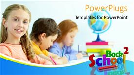 PowerPoint template displaying learning depiction with school supplies and kids in classroom