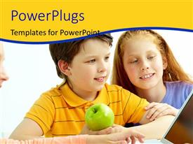 PowerPlugs: PowerPoint template with three kids with an apple happily learning from a laptop