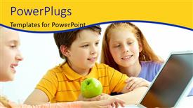 PowerPoint template displaying three kids with an apple happily learning from a laptop