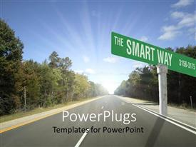 PowerPlugs: PowerPoint template with the Smart Way street sign with highway, trees and blue sky