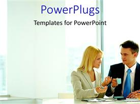 PowerPlugs: PowerPoint template with a number of professionals with building in background