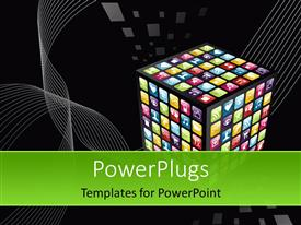 PowerPoint template displaying smartphone application icons in cube shape on black background
