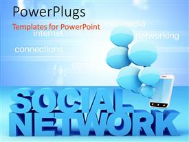 PowerPlugs: PowerPoint template with smartphone with blue bubbles and text SOCIAL NETWORK with related terms