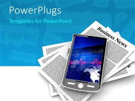 PowerPlugs: PowerPoint template with smartphone sitting on pile of newspapers over white background