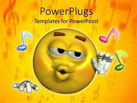PowerPlugs: PowerPoint template with a smiley along with various music figures and yellow background