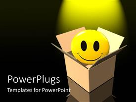 PowerPlugs: PowerPoint template with a smiley coming out of the box with black background and yellow light