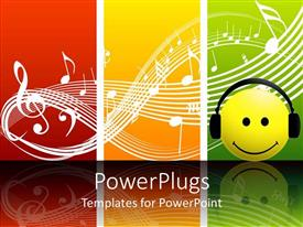 PowerPlugs: PowerPoint template with a smiley with earphone listening the music
