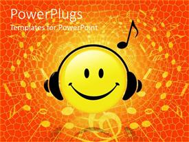 PowerPoint template displaying smiley face wearing headphones listening to music reddish orange background