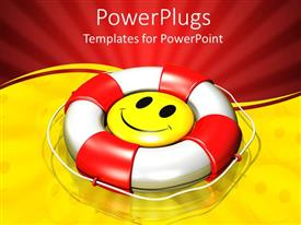 PowerPoint template displaying a smiley inside a lifesaver with yellowish background