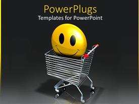 PowerPlugs: PowerPoint template with a smiley in a shopping cart with grayish background