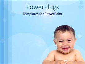 PowerPoint template displaying smiling baby after birth over blue themed background