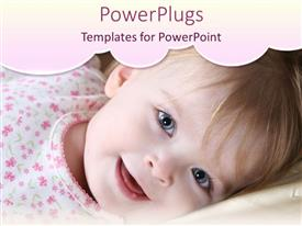 PowerPoint template displaying smiling baby girl in flowery pink onesie