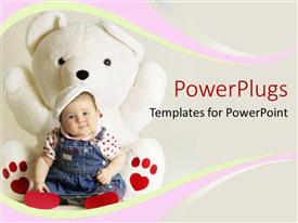 PowerPoint template displaying smiling baby girl sitting against big fluffly white teddy bear toy with heart shape
