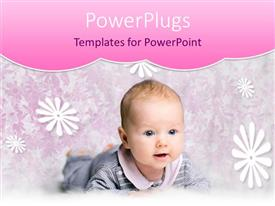 PowerPlugs: PowerPoint template with smiling baby in gray and pink outfit with floral background