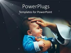 PowerPlugs: PowerPoint template with a smiling baby with a hand blessing him/her