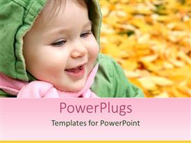 PowerPoint template displaying smiling baby in hooded jacket and pink scarf in fall