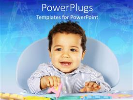 PowerPlugs: PowerPoint template with smiling baby learning alphabets with colorful letter toys