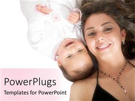 PowerPlugs: PowerPoint template with smiling baby in white laying next to mother