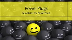 Colorful PPT layouts having lots of black smileswith an outstanding yellow one in the centre