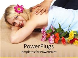 PowerPlugs: PowerPoint template with smiling blond woman with flower in head enjoying massage at spa with colorful flowers on bed