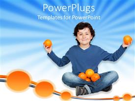 PowerPoint template displaying smiling boy with lap full of oranges holding two in his hands