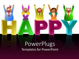 PowerPoint template displaying smiling business figures in bright clothing above word Happy