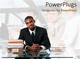 PowerPlugs: PowerPoint template with smiling business man in black suit and tie sitting behind desk with empty inbox and full outbox