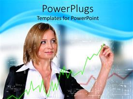 PowerPlugs: PowerPoint template with smiling business woman drawing green line graph