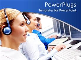 PowerPoint template displaying smiling call center workers with computers and headsets