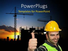 PowerPlugs: PowerPoint template with smiling construction worker wearing protective helmet over construction site with cranes