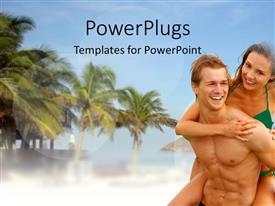 PowerPlugs: PowerPoint template with smiling couple on beach with palm trees