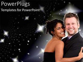 PowerPoint template displaying smiling couple embracing in front of starry sky