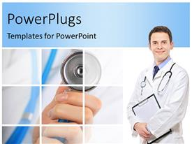 PowerPoint template displaying smiling doctor with stethoscope around neck and examining note