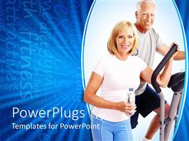 PowerPlugs: PowerPoint template with smiling elderly couple working out in gym on blue background