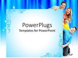 PowerPlugs: PowerPoint template with smiling family of four, two sons and parents, father and mother