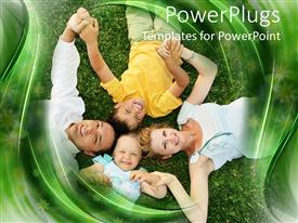 PowerPlugs: PowerPoint template with smiling family, mom, dad, little boy, and baby girl laying in grass