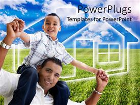 PowerPlugs: PowerPoint template with smiling Father carries son over shoulder on green vegetation and blue sky