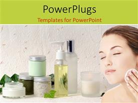 PowerPoint template displaying a smiling female closing her eyes with some products beside her