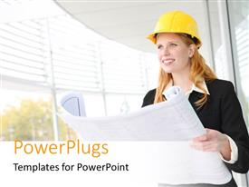 PowerPoint template displaying smiling female construction engineer with protective helmet holding blueprint