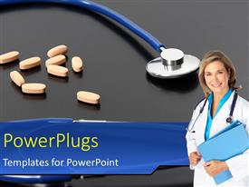 PowerPlugs: PowerPoint template with smiling female doctor with orange tablets and stethoscope on black background