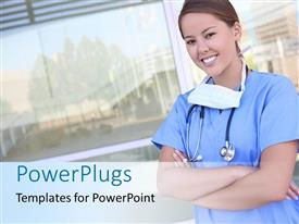 PowerPoint template displaying a smiling female nurse in front of a hospital