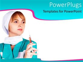 PowerPlugs: PowerPoint template with smiling female nurse taking temperature of small boy wearing clown nose