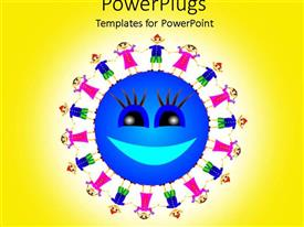 PowerPlugs: PowerPoint template with smiling globe surrounded by children holding hands