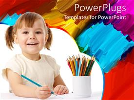 PowerPlugs: PowerPoint template with smiling happy girl with colored pencils in cup and painting in the background