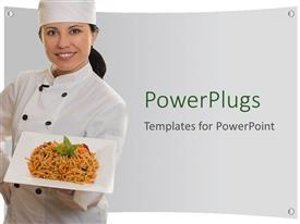 PowerPoint template displaying smiling lady chef holding plate of pasta