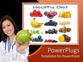 PowerPlugs: PowerPoint template with a smiling lady holding an apple and some fruits at the back